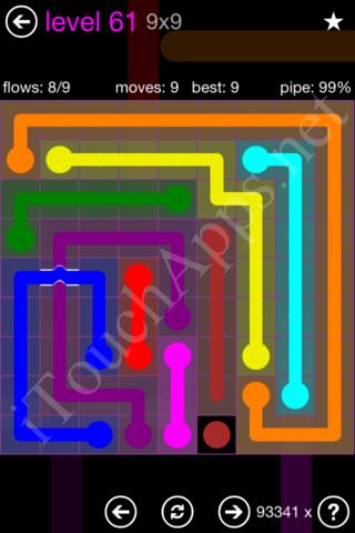 Flow Bridges 9x9 Mania Pack Level 61 Solution