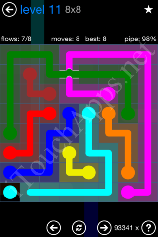 Flow Bridges Challenge Pack 8x8 Level 11 Solution