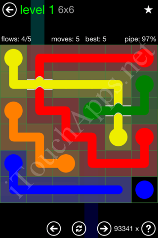 Flow Bridges Classic Pack 6x6 Level 1 Solution