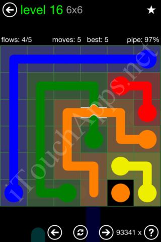 Flow Bridges Classic Pack 6x6 Level 16 Solution