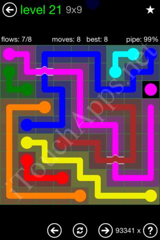Flow Bridges Classic Pack 9x9 Level 21 Solution