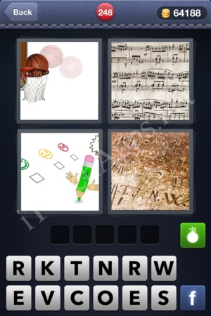 Pics  Word  Letters Basketball Music Notes