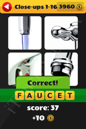 What's That Word Close-ups Level 1-16 Solution