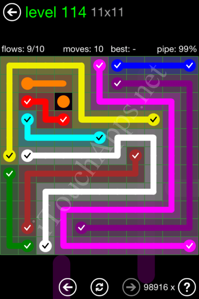 Flow Game 11x11 Mania Pack Level 114 Solution