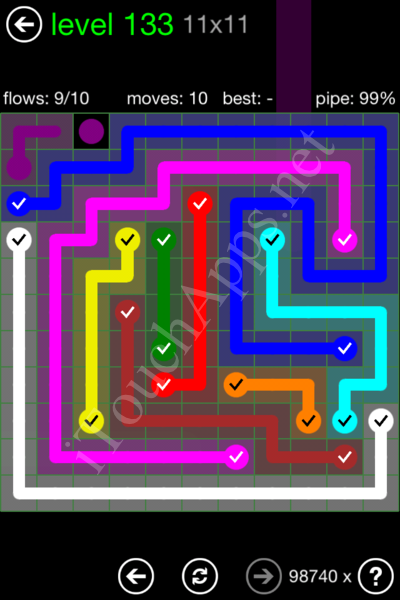 Flow Game 11x11 Mania Pack Level 133 Solution