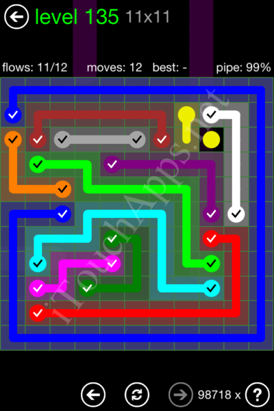 Flow Game 11x11 Mania Pack Level 135 Solution