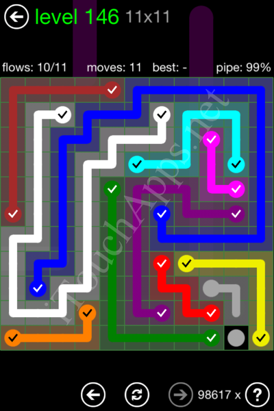 Flow Game 11x11 Mania Pack Level 146 Solution