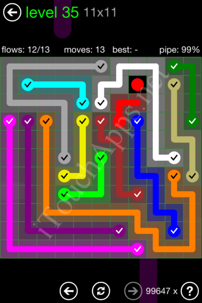 Flow Game 11x11 Mania Pack Level 35 Solution