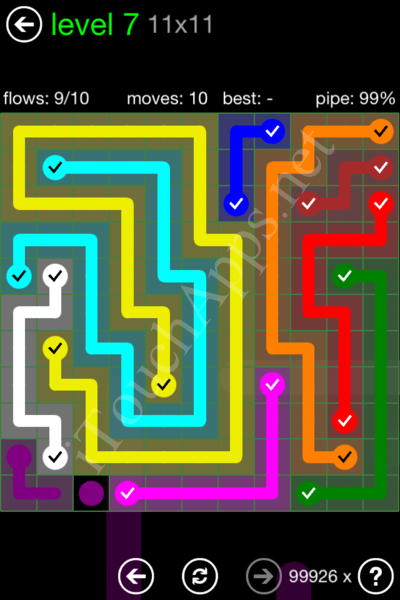Flow Game 11x11 Mania Pack Level 7 Solution