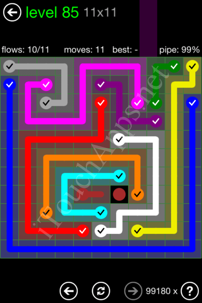 Flow Game 11x11 Mania Pack Level 85 Solution