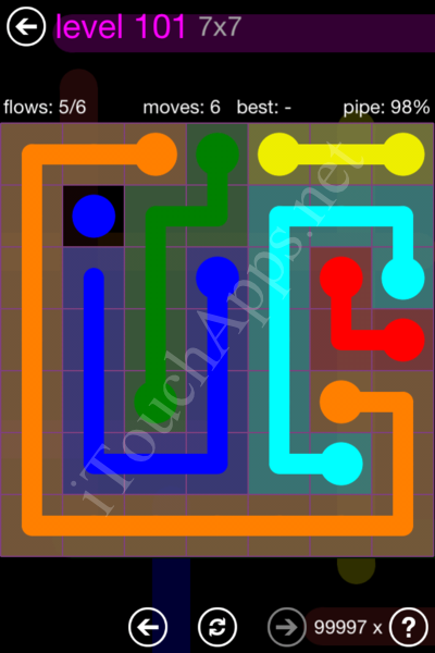 Flow Game 7x7 Mania Pack Level 101 Solution