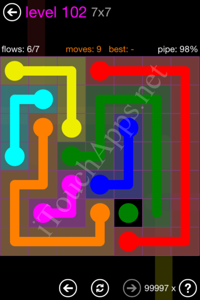 Flow Game 7x7 Mania Pack Level 102 Solution