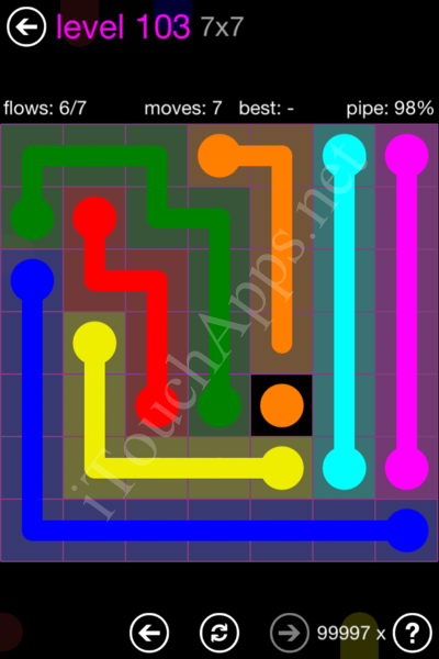 Flow Game 7x7 Mania Pack Level 103 Solution
