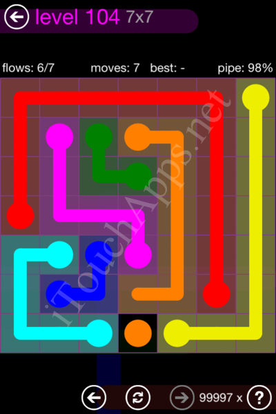 Flow Game 7x7 Mania Pack Level 104 Solution