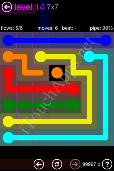 Flow Game 7x7 Mania Pack Level 14 Solution