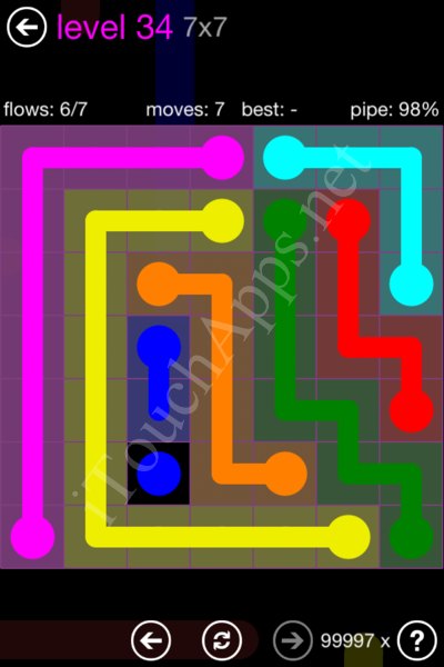 Flow Game 7x7 Mania Pack Level 34 Solution