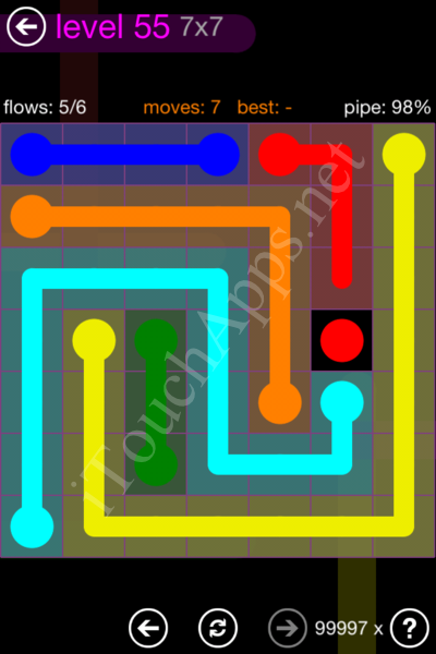 Flow Game 7x7 Mania Pack Level 55 Solution
