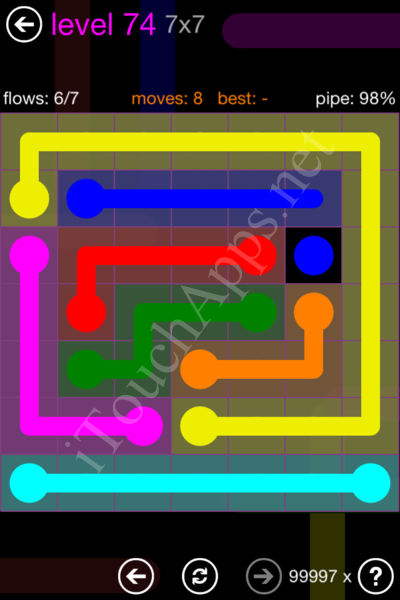 Flow Game 7x7 Mania Pack Level 74 Solution