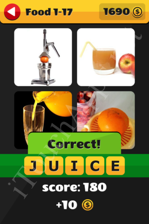 What's That Word Food and Drinks Level 1-17 Solution