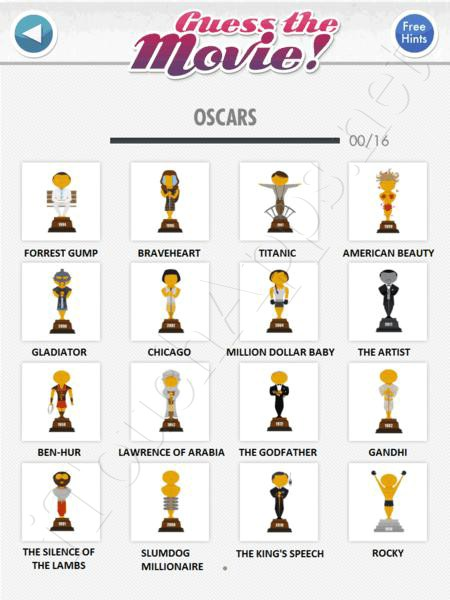 guess the movie oscars answers / solutions / cheat