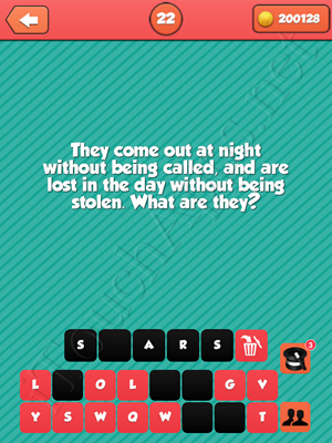 Riddle Me That Level 22 Answer