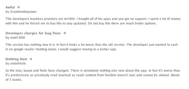 Reeder 2 iTunes Comments