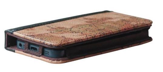 EC Technology 5 in 1 Retro Map Pattern Genuine Handmade Leather Case