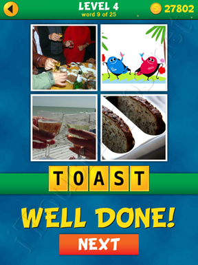 4 Pics 1 Word Puzzle - What's That Word Level 4 Word 9 Solution