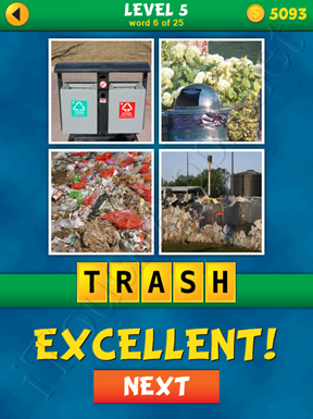 4 Pics 1 Word Puzzle - What's That Word Level 5 Word 6 Solution