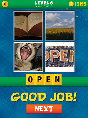 4 Pics 1 Word Puzzle - What's That Word Level 6 Word 15 Solution
