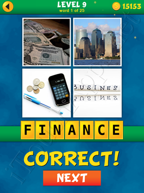 4 Pics 1 Word Puzzle - What's That Word Level 9 Word 1 Solution