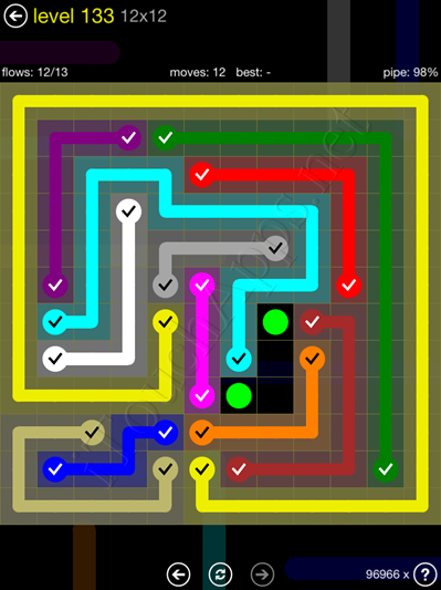 Flow Game 12x12 Mania Pack Level 133 Solution
