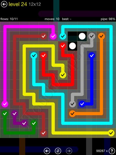 Flow Game 12x12 Mania Pack Level 24 Solution