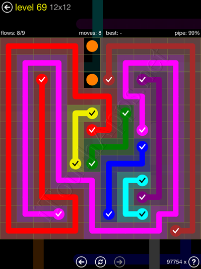 Flow Game 12x12 Mania Pack Level 69 Solution