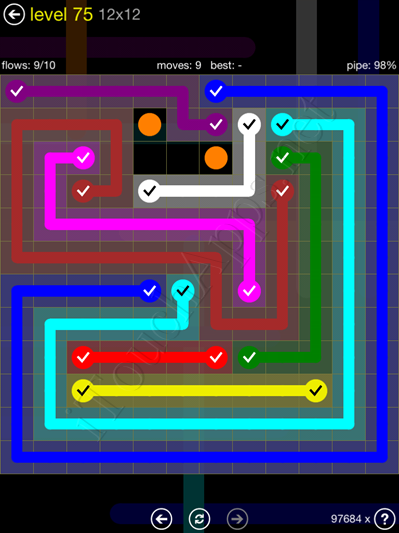 Flow Game 12x12 Mania Pack Level 75 Solution