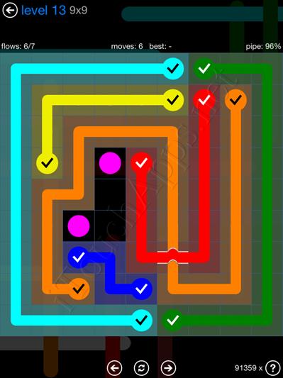 Flow Bridges Blue Pack 9x9 Level 13 Solution