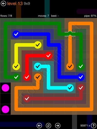 Flow Bridges Pack 9 x 9 Level 13 Solution