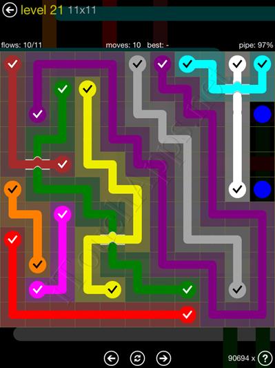 Flow Bridges Yellow Pack 11x11 Level 21 Solution