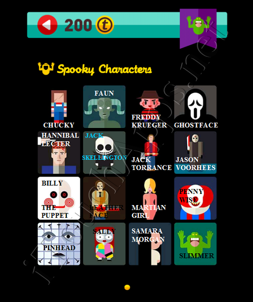 Icon Pop Quiz Game Weekend Specials Spooky Characters Answers / Solutions