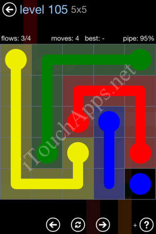 Flow Game Rainbow Pack Level 105 Solution