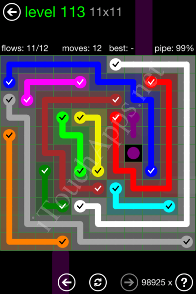 Flow Game 11x11 Mania Pack Level 113 Solution