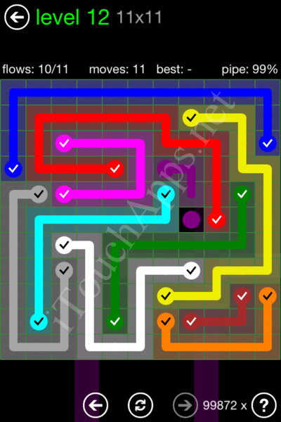 Flow Game 11x11 Mania Pack Level 12 Solution