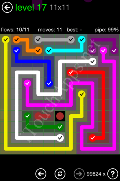 Flow Game 11x11 Mania Pack Level 17 Solution