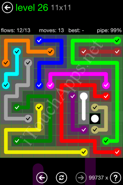 Flow Game 11x11 Mania Pack Level 26 Solution