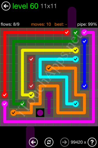 Flow Game 11x11 Mania Pack Level 60 Solution