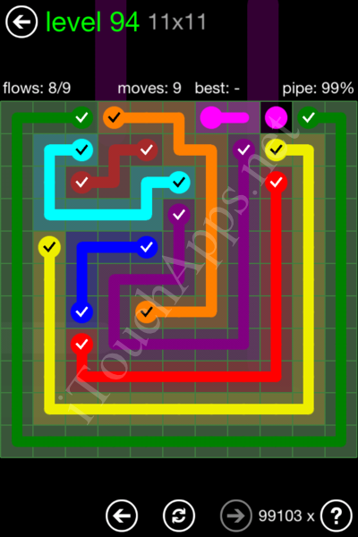 Flow Game 11x11 Mania Pack Level 94 Solution