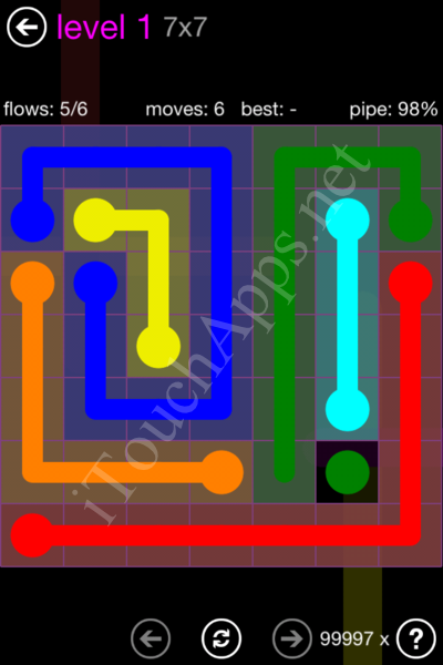 Flow Game 7x7 Mania Pack Level 1 Solution