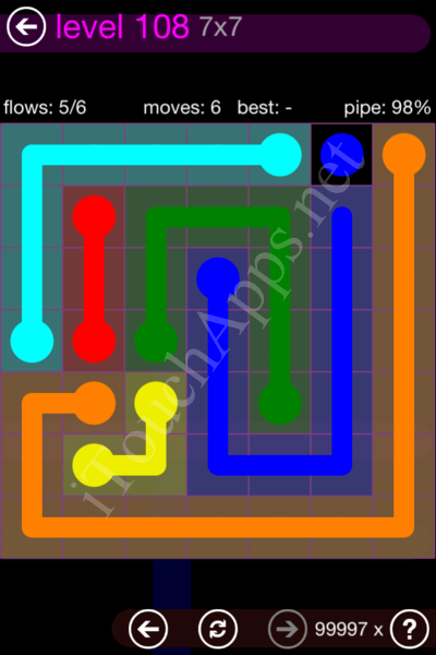 Flow Game 7x7 Mania Pack Level 108 Solution