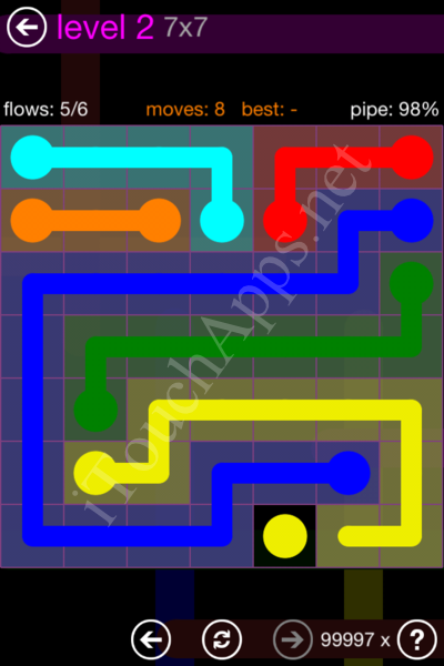 Flow Game 7x7 Mania Pack Level 2 Solution