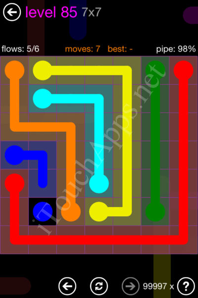 Flow Game 7x7 Mania Pack Level 85 Solution